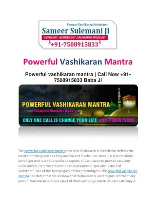 Powerful Vashikaran Mantra :- 91-7508915833 | Mumbai
