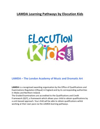 LAMDA Learning Pathways by Elocution Kids