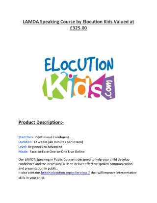 LAMDA Speaking Course by Elocution Kids Valued at £325.00