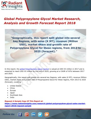Global Polypropylene Glycol Market Research, Analysis and Growth Forecast Report 2018