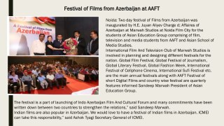 Festival of Films from Azerbaijan at AAFT