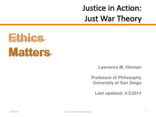 Justice in Action: Just War Theory