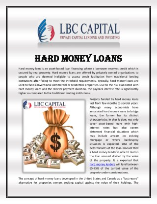 Hard Money Loans - Asset Based Loan Finance