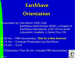 EarthSave  Orientation