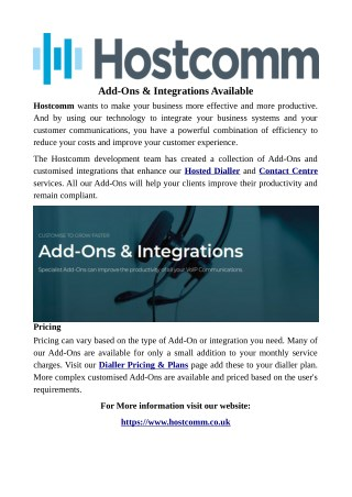 Add-Ons & Integrations Available