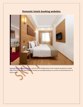 Domestic hotels booking websites