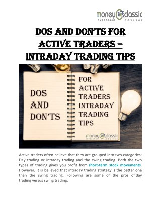 Dos And Don'ts For Active Traders – Intraday Trading Tips