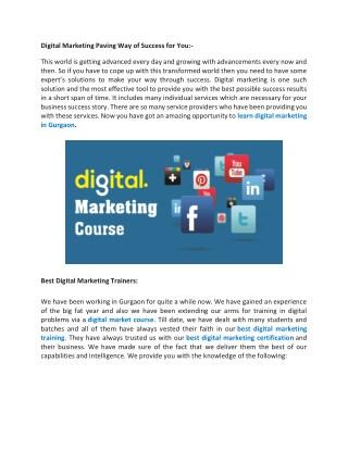 Digital Market Course