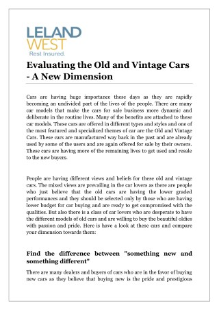 Evaluating the Old and Vintage Cars - A New Dimension