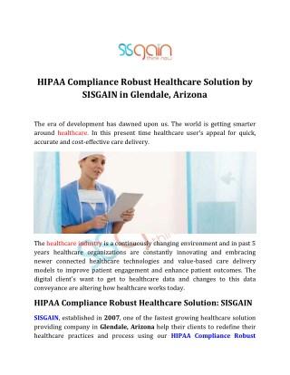 HIPAA Compliance Robust Healthcare Solution - SISGAIN