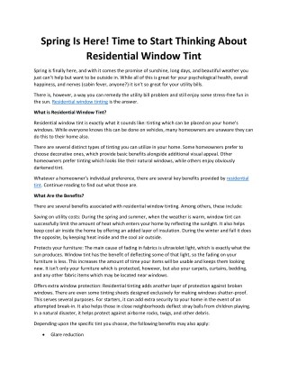 Spring Is Here! Time to Start Thinking About Residential Window Tint