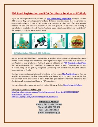 FDA Food Facility Registration and FDA Certificates Services at FDAhelp