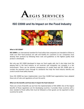 ISO 22000 and Its Impact on the Food Industry