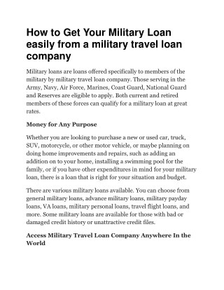 How to get your military loan easily from a military travel loan company