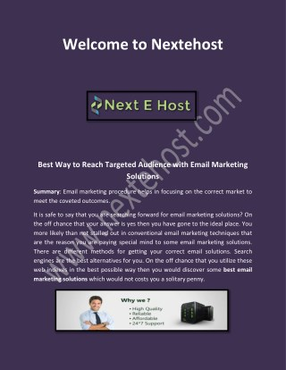 email marketing for small business, email marketing plan at nextehost