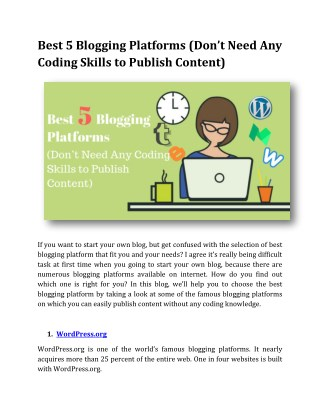 Best 5 Blogging Platforms (Don't Need Any Coding Skills to Publish Content)