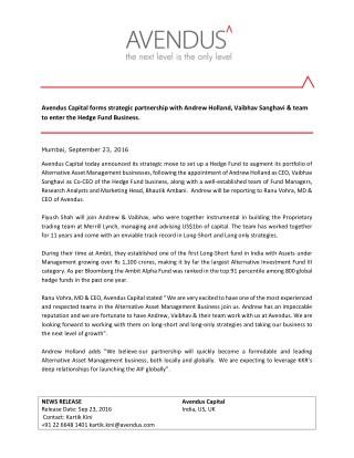 Avendus Capital forms strategic partnership with Andrew Holland, Vaibhav Sanghavi & team to enter the Hedge Fund Busines