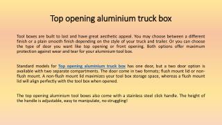 Top Opening Aluminium Tool Box: Designed For Maximum Storage and Maximum Durability
