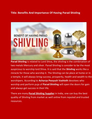 Benefits And Importance Of Having Parad Shivling