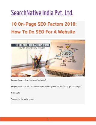 10 On-Page SEO Factors 2018: How To Do SEO For A Website