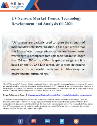 UV Sensors Market Trends, Technology Development and Analysis till 2021