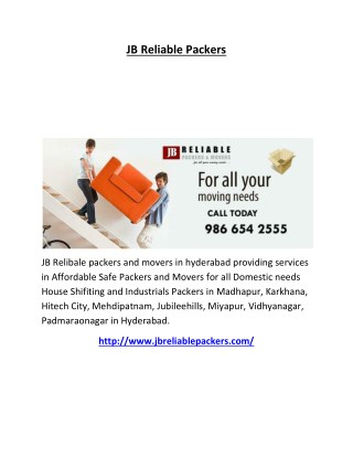 Office relocation Hyderabad | Office Movers Hyderabad : JB Reliable Packers