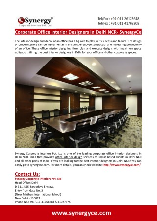 Corporate Office Interior Designers In Delhi NCR- SynergyCe