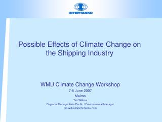 Possible Effects of Climate Change on the Shipping Industry