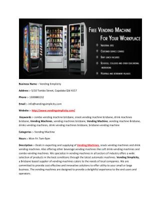 Drink Vending Machines Brisbane - Vending Simplicity