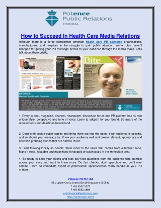 How to Succeed In Health Care Media Relations