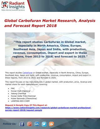 Global Carbofuran Market Research, Analysis and Forecast Report 2018