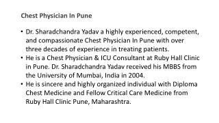 Chest Physician In Pune | Dr. Sharadchandra Yadav