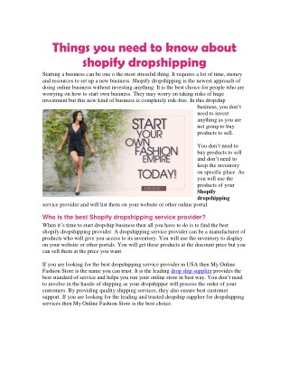 Things you need to know about shopify dropshipping