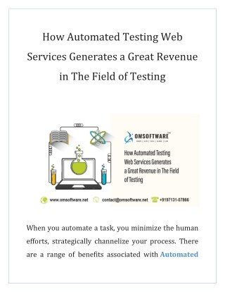How Automated Testing Web Services Generates a Great Revenue in The Field of Testing