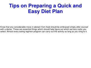 Tips on Preparing a Quick and Easy Diet Plan