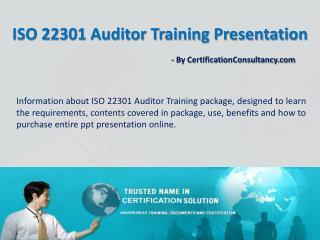 Presentation Kit for ISO 22301 Auditor Training