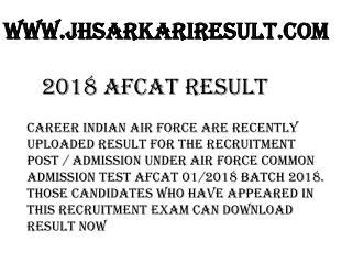 2018 AFCAT Result