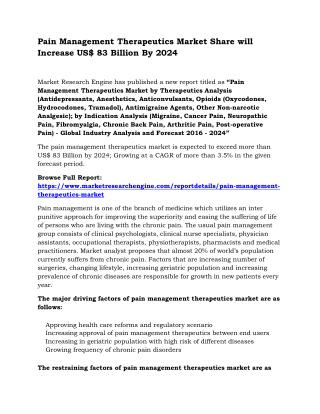 Pain Management Therapeutics Market Share will Increase US$ 83 Billion By 2024