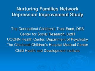 Nurturing Families Network Depression Improvement Study