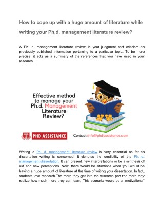 Effective Method to manage your PhD Management Literature Review