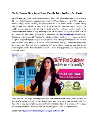 Cla Safflower Oil - Burn Your stubborn Fat Quickly!