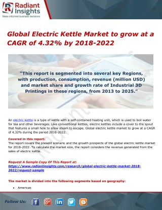 Global Electric Kettle Market to grow at a CAGR of 4.32% by 2018-2022