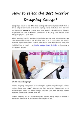How to select the Best Interior Designing College?