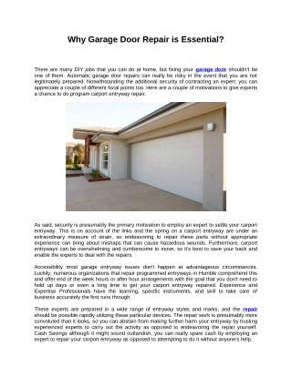 Why Garage Door Repair is Essential?