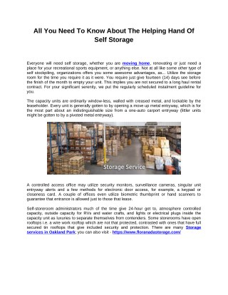 All You Need To Know About The Helping Hand Of Self Storage