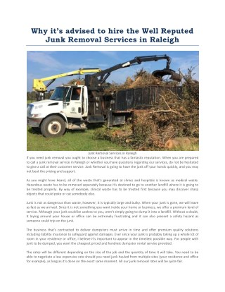 Junk Removal Services in Raleigh