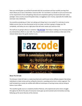 Does Andrew Peterson's The Az Code Really Work? Is The Az Code worth your Time and Money?