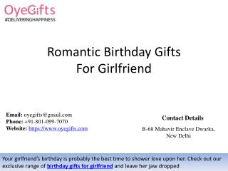 Romantic Birthday Gifts For Girlfriend