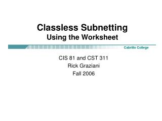 Classless Subnetting Using the Worksheet
