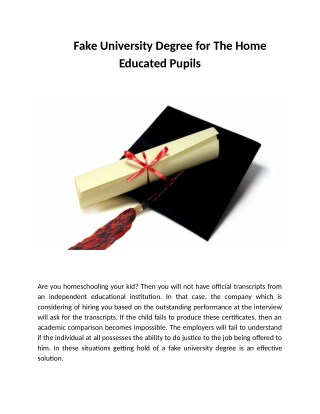 Fake University Degree for The Home Educated Pupils